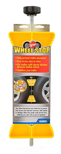 Camco RV  Wheel Stop- Stabililizes Your Trailer by Securing Tandem Tires to Prevent Movement While Parked- 26