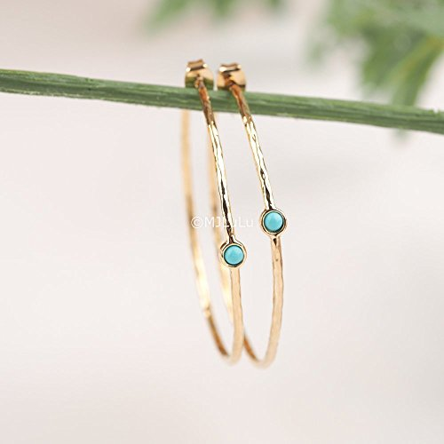 Blue Simulated Turquoise Gold Plated Brass Hoop Earrings