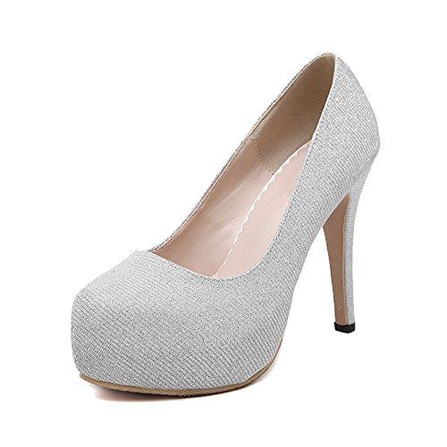 OCHENTA Damen Pumps Stiletto Plattform Klub Sexy Plateau High Heels Einfach Pailletten Silber
