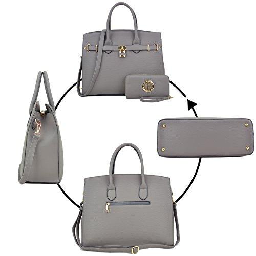 Laptop 2pcs Without Leather Grey Padlock Bag Handbags Bag F1006 Shoulder Briefcase Top Women's Designer Dasein Faux Handle Satchel Purse Tote Key UTC6q