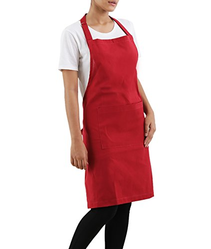 Villa Tranquil Apron, 100% cotton, Eco-Friendly and safe, Elegant in wearing, unisex, fire red color, for all kitchens, size 30