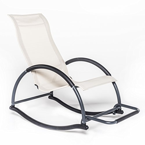 LUCKUP Comfortable relax lounge chair , Outdoor Rocking chair with a sturdy Aluminum frame (BEIGE) - Aluminum Sling Glider