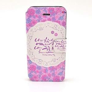 Patrón Cute Little Lace Floral PU Leather Case cuerpo completo con ranura para tarjetas y soporte para el iPhone 5/5S