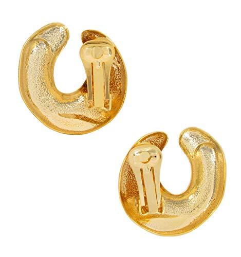(Statement Clip On Earrings Horseshoe Gold Tone 1 1/4