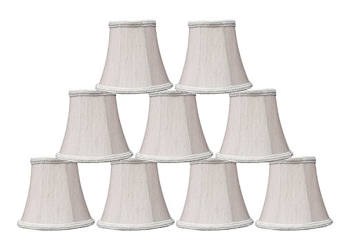 Urbanest Braid Trim Chandelier Mini Lamp Shade, 5-inch, Bell, Clip On, Champagne, Set of 9