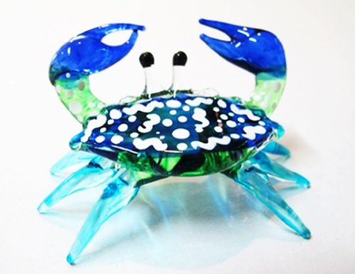 Handcrafted MINIATURE HAND BLOWN GLASS Small Blue Crab FIGURINE Collection by ChangThai Design