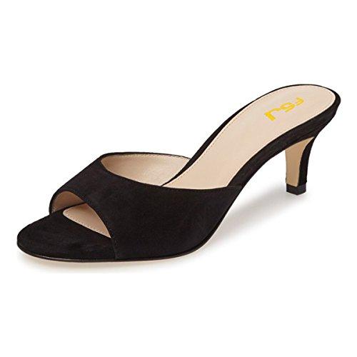 FSJ Women Comfort Low Heel Mules Peep Toe Suede Sandals Slip On Dress Pump Shoes Size 6 Black-6cm (Kitten Mule)