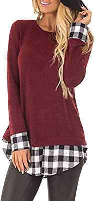 c4b0d121 Gemijack Womens Tunic Tops Buffalo Plaid Casual Long Sleeve Loose ...