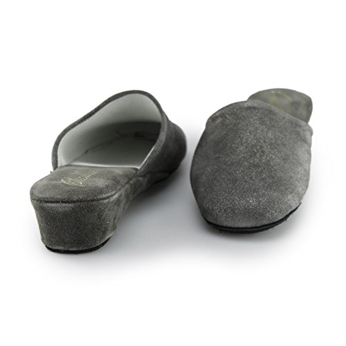 Suede Grey Leather Chaleur Wedge DEVON Slippers Mule Grey Ladies E060x7wOq