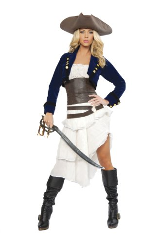 Roma Costume Deluxe 6 Piece Colonial Pirate Costume, Blue/White/Brown, Medium ()