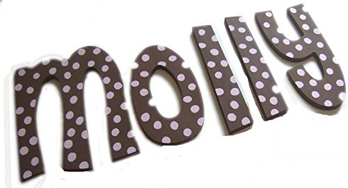 - PINK AND BROWN POLKA DOTS CUSTOM HAND PAINTED WOODEN NURSERY WALL LETTERS-GIRL NURSERY LETTERS