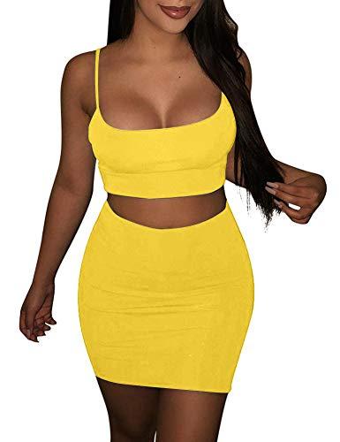 (BORIFLORS Women's Sexy 2 Piece Outfits Strap Crop Top Skirt Set Bodycon Mini Dress,Small,Yellow)