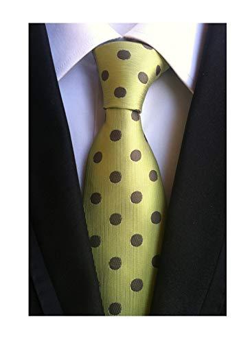 Men Green Brown Polka Dot Self Tie 100% Silk Novelty Unique Party Narrow Necktie