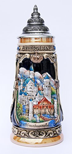 (Neuschwanstein Castle, Hohenschwangau Castle Beer Stein by King - Bavarian Castles German Beer Stein)