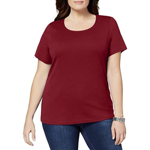 (Karen Scott Womens Plus Short Sleeves Crewneck T-Shirt Red 3X)
