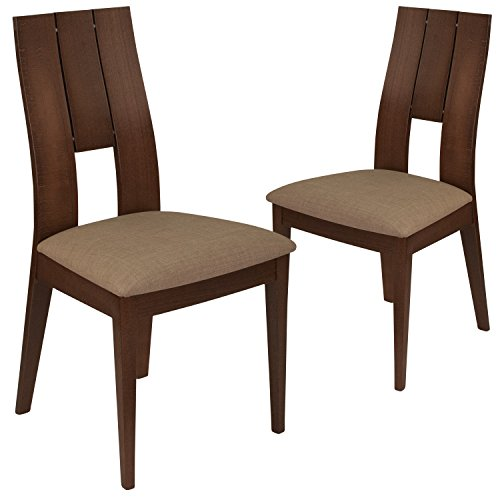 Flash Furniture 2 Pk. Emerson Walnut Finish Wood Dining Chair with Curved Slat Keyhole Back and Magnolia Brown Fabric Seat - Brown Fabric Seat