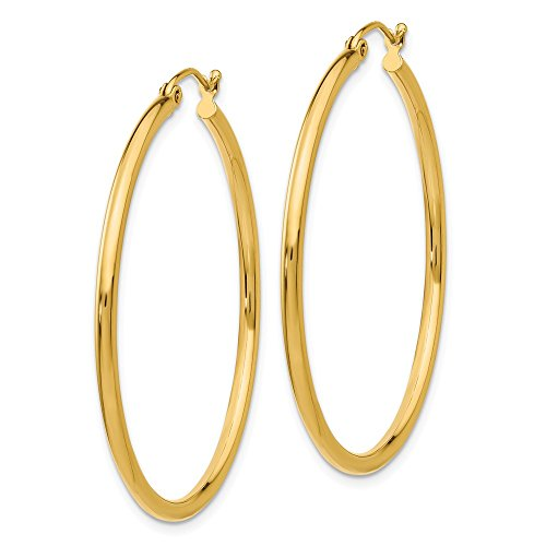 "Designs by Nathan, Classic 14K Yellow Gold Tube Hoop Earrings: Seamless, Hollow, and Lightweight (Regular 2mm x 40mm (about 1 9/16"")) by Designs by Nathan"