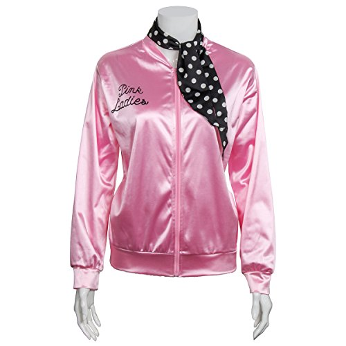 Fancy Danny Grease Dress Costumes (Ladies 1950s Pink Satin Grease Jacket With Neck Scarf T Bird Women Danny Halloween Costume Fancy Dress)
