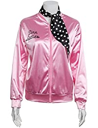 Ladies 1950s Pink Satin Jacket with Neck Scarf T Bird Women Danny Halloween Costume Fancy Dress