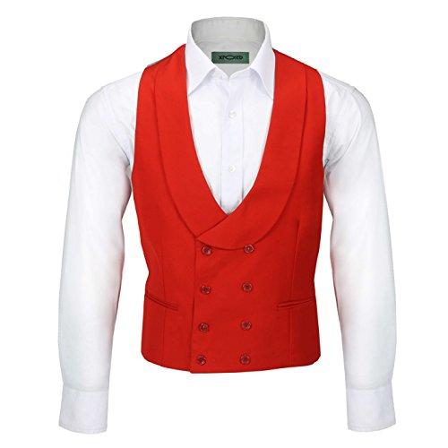Xposed Chaleco vintage de doble botonadura con solapa para hombre, ajuste a medida, elegante, vestido de novia con…