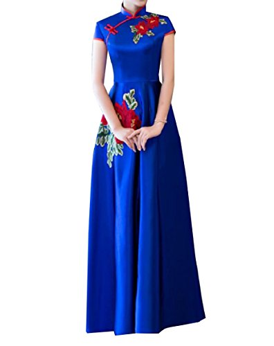 Coolred Women's Slim Long Embroidered Stand Collar Cheongsam Chinese Dress Blue S ()