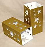 Gold with Star Cutouts Cardboard Paper Luminary - Package of 24