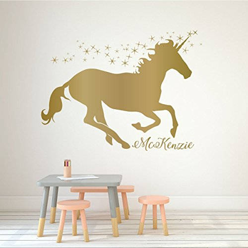 Fairy Personalized Wall Art (Unicorn Wall Decor Vinyl Decal Personalized with Custom Name For Girl's Bedroom, Playroom, Baby Nursery - Kids Home Decorations)