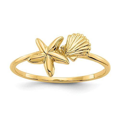 14k Yellow Gold Sea Shell Mermaid Nautical Jewelry Starfish Band Ring Size 7.00 Life Fine Jewelry Gifts For Women For Her ()