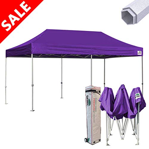 Eurmax 10x20 Pop up White Tent Instant Canopy Shelter with Roller Bag, White