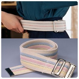 "Sammons Preston Gait Belt with Metal Buckle, 2"" Wide, 100"" Long Heavy Duty Gait Transfer Belt, Essential Walking and Transport Assistant for Elderly, Disabled, and Medical Patients, Neutral Stripe"