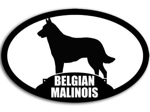 American Vinyl Oval Belgian Malinois Silhouette Sticker (Dog Breed Decal)