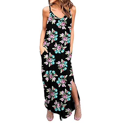 Dress for Women Summer Casual Loose Pocket Long Dress Bohemia Floral Strappy Camisole Split Maxi Dresses Black ()