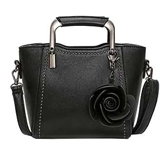 COMVIP Women PU Leather Flower Tote Shoulder Handbag Solid Handle Bag Black