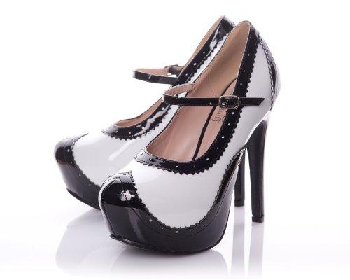 Playgirl Patent Round Toe Platform Pump & Ankle Strap (7 US) (Patent Round Toe Platform)