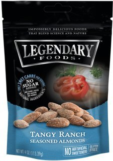 Legendary Foods Tangy Ranch Seasoned Keto Almonds - Low Carb Paleo Nuts - Natural & Organic Food - Quick, Healthy, Nutritious, Sugar Free Snack- Gluten Free (4oz - 4 pack)
