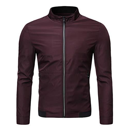 08 Wall Mount - Men's Casual Long Sleeve Lapel Pure Color Pocket Jacket Zipper Outwear Coat Tops (M-3XL)