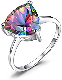 Glorious Triangle 4.3ct Genuine Rainbow Fire Mystic Topaz Solid Pure 925 Sterling Silver Rings
