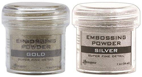 Gold & Silver - 2-Pack Variety - Ranger Embossing Powder, 1 Jar Super Fine Gold + 1 Jar Super Fine Silver - Embossing Powder 1 Oz Jar