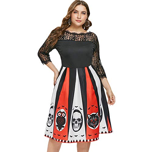 KCatsy Plus Size Sheer Floral Lace Halloween Dress Black]()