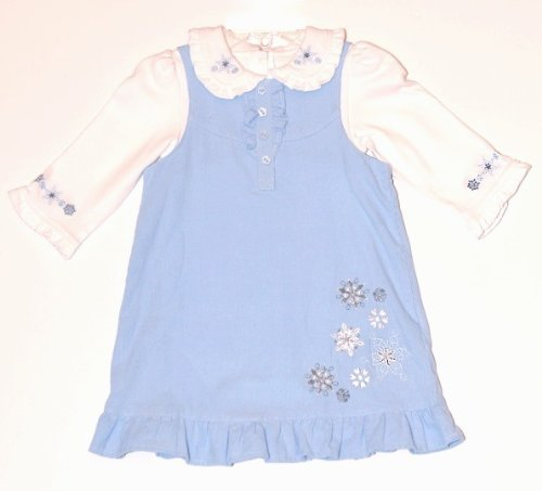BT Kids Corduroy Snowflake Jumper With White Creeper, Blue