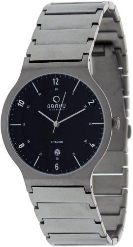 Obaku Men's V133 V133GTBST Black Titanium Quartz Watch with Black Dial