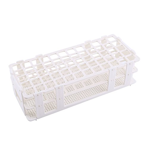 Plastic Test Tube Rack Holder Storage Stand, Holds 60, for 16mm Dia. Tubes White