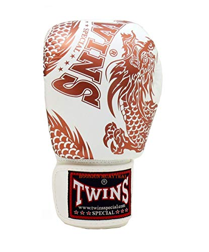 - Twins Special Muay Thai Boxing Gloves Signature Gloves FBGV49 Dragon White Copper 16 oz. Univesal Gloves for Training or Sparring