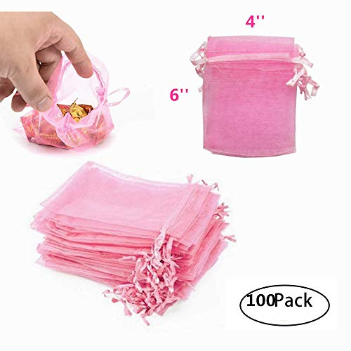 Drawstring Pink Blush - MeetRade 100pcs Organza Bags Pink 4''*6'' Satin Drawstring Gift Bags Pouch for Wedding Christmas Birthday Party Favor Jewelry Watch Candy Small (Pink)