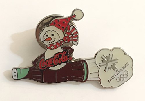 Winter Olympic Pin - Rare Coca-Cola Snow Man Bottle Rocket Salt Lake City Winter Olympics Pin LE/500