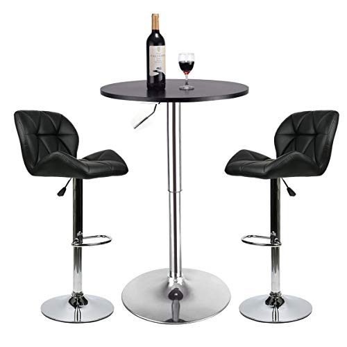 Bar Table Set of 3 - Adjustable Round Table and 2 Swivel Pub Stools (Black Table and Black Chairs)