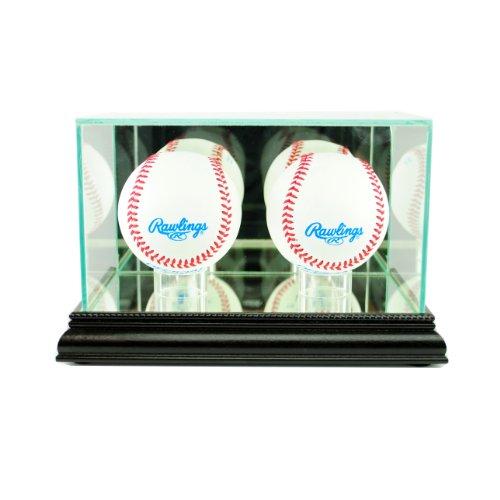 Acrylic Double Baseball Display - Perfect Cases MLB Double Baseball Glass Display Case, Black