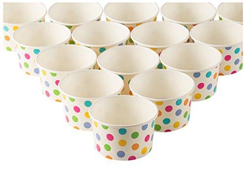 Ice Cream Sundae Cups - 50-Piece Disposable Paper Dessert Ice Cream Yogurt Bowls Party Supplies, Rainbow Polka Dots, 8-Ounce Summer Fruit Bowl