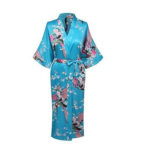Silk Robe Kimono, Pajamas Women Silk Rayon Long Robes Kimono Bath Gown Women Sexy Nightgown Floral Sleepwear Plus Size ()