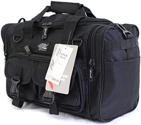 This is an image of the Nexpak Tactical Duffle Range Bag in black, with two front pockets, buckle-type closure, and a product tag hanging from it.